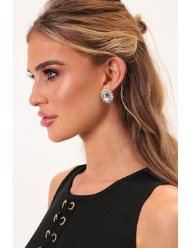 Gold Diamante Stud Earrings by I Saw It First
