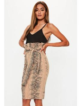 Brown Snake Print Paperbag Midi Skirt by Missguided