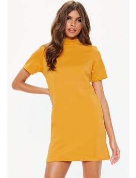 Mustard High Neck Shift Dress by Missguided