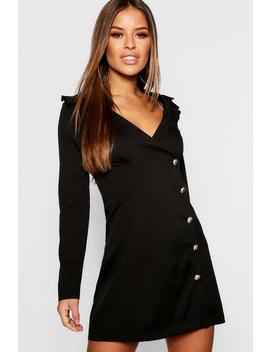 Petite Button Detail Blazer Dress by Boohoo