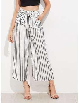 Vertical Striped Self Tie Wide Leg Pants by Shein