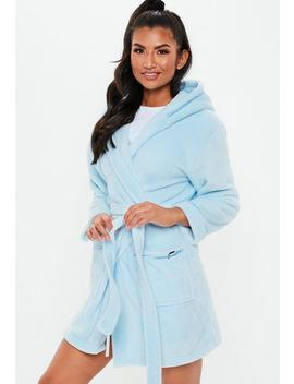 Blue Fluffy Hooded Dressing Gown by Missguided
