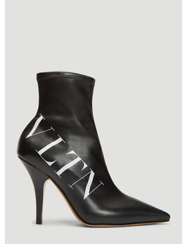 Vltn Leather Sock Boots In Black by Valentino