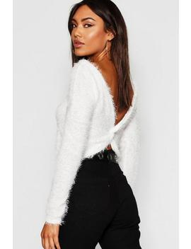 Fluffy Knit Twist Back Crop Jumper by Boohoo