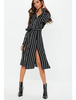 Black Tie Belt Stripe Midi Dress by Missguided