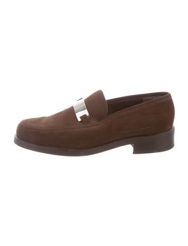 Suede Round Toe Loafers by Gucci