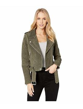 Suede Moto Jacket In Herb by Blank Nyc