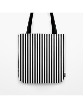 Black & White Vertical Stripes Tote Bag by