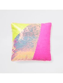 Yellow And Pink Sequin Cuddle Cushion by River Island