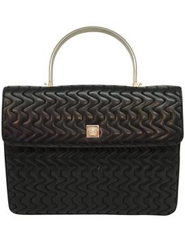 Vintage Medusa Quilted Top Handle Black Leather Tote by Versace