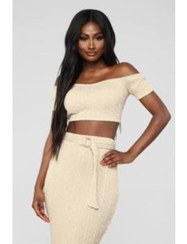 Sweater Feels Skirt Set   Light Taupe by Fashion Nova