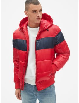 Heavyweight Colorblock Hooded Puffer Jacket by Gap