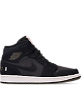Men's Air Jordan 1 Mid Premium Fleece Basketball Shoes by Nike