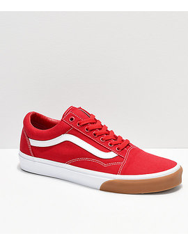 Vans Old Skool Red, White &Amp; Gum Bumper Skate Shoes by Vans