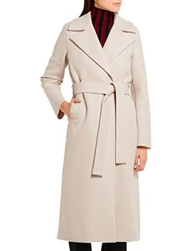 Women's Beige Long Sleeve Lapel Winter Overcoat Wool Blend Long Coat With Belt by Gesellie