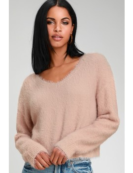 Daily Snuggle Blush Pink Eyelash Knit Sweater by Lulus