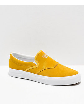 Diamond Supply Co. Boo J Yellow Suede Slip On Skate Shoes by Diamond Supply