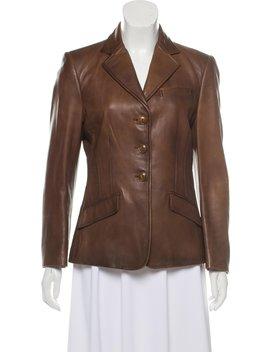 Leather Notch Lapel Jacket by Ralph Lauren Collection