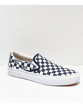 Vans X Independent Slip On Pro Blue &Amp; White Checkerboard Skate Shoes by Vans