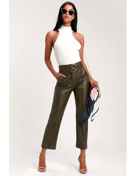 Leanna Olive Green Vegan Leather Belted Pants by Lulus