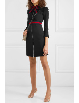 Ruffled Grosgrain Trimmed Stretch Cady Dress by Gucci
