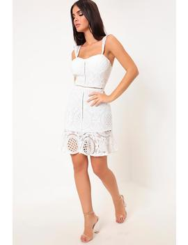 White Crochet Lace Frill Hem Bodycon Dress by I Saw It First