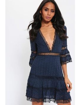 Navy Broderie Anglais Crochet Trim Skater Dress by I Saw It First