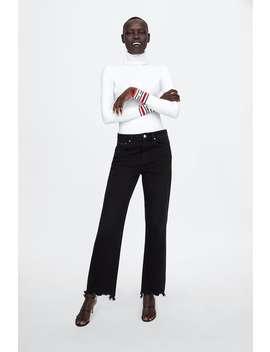 Ribbestrikket Genser Med Zara Logo  Se Alle Strikket Dame Salg by Zara