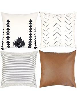 Woven Nook Decorative Throw Pillow Covers Only For Couch, Sofa, Or Bed Set Of 4 18 X 18 Inch Modern Quality Design 100 Percents Cotton Stripes Geometric Faux Leather Amaro Set by Woven Nook