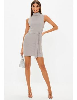 Grey High Neck Tie Waist Mini Dress by Missguided
