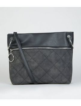 Black Quilted Panel Shoulder Bag by New Look