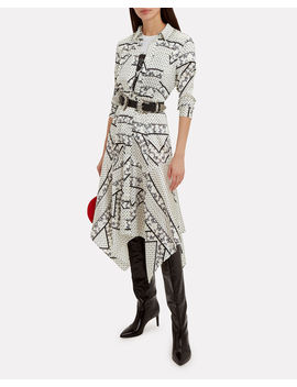 Silk Stretch Satin Egret Print Midi Dress by Ganni