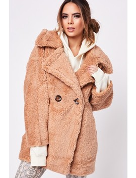 Hayley Camel Button Teddy Coat by Misspap