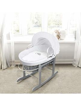 Sleepy Little Owl On Grey Wicker Moses Basket & Deluxe Dove Grey Rocking Stand by Elegant Baby