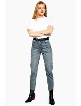 Mid Blue Asymmetric Hem Mom Jeans by Topshop