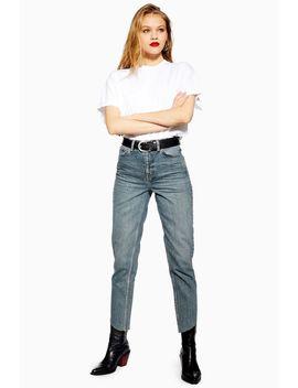 Mid Blue Asymmetric Hem Mom Jeans by Topshop