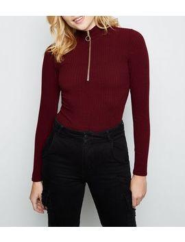 Burgundy Funnel Neck Zip Front Bodysuit by New Look