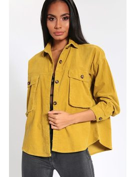 Chartreuse Cord Utility Cropped Shirt by I Saw It First