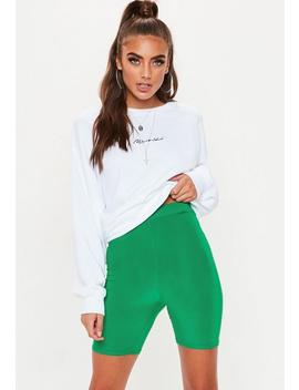 Green Slinky Cycling Shorts by Missguided
