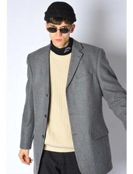 Vintage 80s Grey Minimalist Virgin Wool Blazer by Kaleidoo