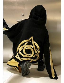 Premium Gold Foil Logo And Slogan Loose Fit Hood In Black by Now Millennial