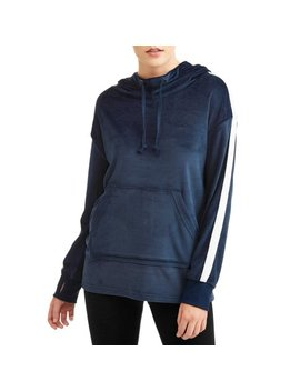 Women's Active Athletic Stripe Velour Hoodie by Athletic Works