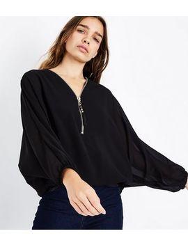 Mela Black Zip Front Batwing Sleeve Top by New Look