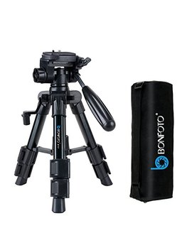 Bonfoto B71 T Portable Tabletop Mini Tripod With 1/4 Mount 3 Way Pan Head,Quick Release Plate And Caring Bag For Canon, Nikon, Sony Dslr Camera, Black by Bonfoto