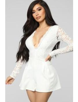 All Good Things Lace Romper   White by Fashion Nova