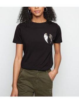 White Angel Wings Print Cotton T Shirt by New Look