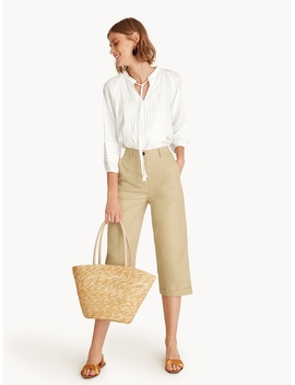 Cropped Culotte Tailored Pants   Beige by Pomelo