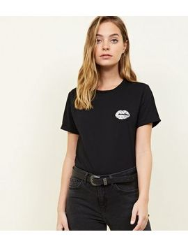 Petite Black Sequin Lips T Shirt by New Look