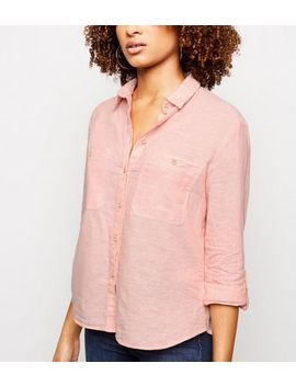 Coral Linen Blend Pocket Front Shirt by New Look