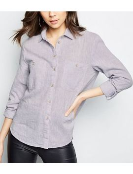 Grey Linen Blend Pocket Front Shirt by New Look